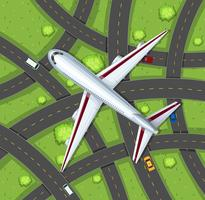 Luchtscène met vliegtuig die in de hemel vliegen