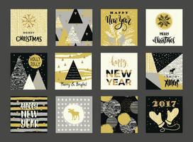 Reeks artistieke creatieve Vrolijke Kerstmis en Nieuwjaarskaarten.