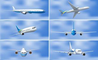 Een set van vliegtuig op lucht vector