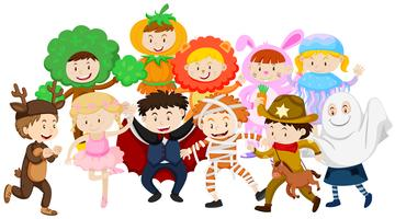 Kinderen verkleden zich in verschillende kostuums