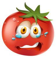 Huilend gezicht op tomaat vector