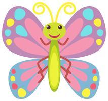Kleurrijke vlinder met blij gezicht