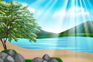 Achtergrondontwerp met zee en bergen vector