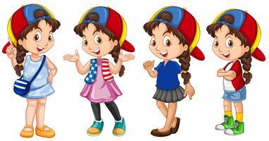 Leuk meisje in verschillende outfit vector
