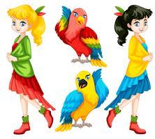 Kleurrijke mensen en vogels