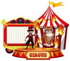 Een circusshow op witte achtergrond