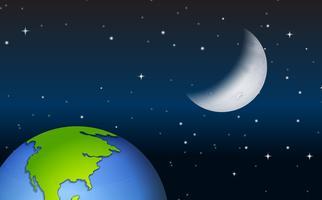 Uitzicht op de aarde en de maan
