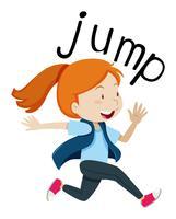 Wordcard voor springen met meisje springen vector