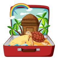 Schildpad op het strand in bagage
