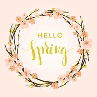 Vector de lenteachtergrond met bloeiende takken.
