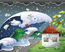 Tsunami raakte de badplaats vector