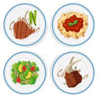Vier soorten voedsel op ronde borden