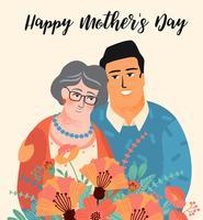 Gelukkige Moederdag. Vectorillustratie met man, vrouw en bloemen.