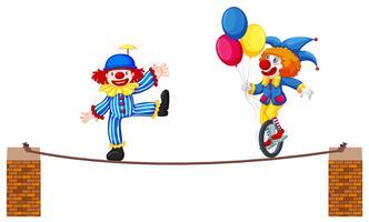 Een circusclownshow op witte achtergrond
