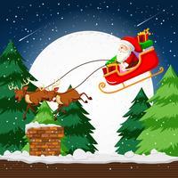 Santa vliegen in een slee