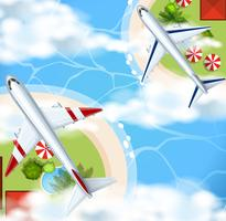 Twee vliegtuigen die over het rivierpark vliegen