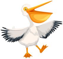 Een gelukkig pelikaankarakter