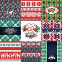 Kerstmis en Nieuwjaar Set. Gebreide achtergronden. vector