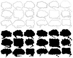 Verschillende ontwerpen voor tekstballonnen in zwart en wit vector