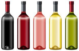 Diiferent kleuren van glazen flessen