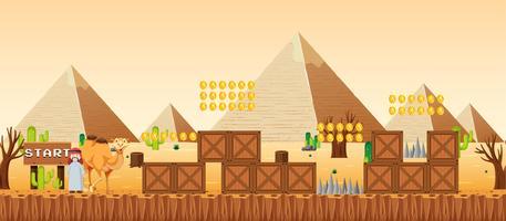 Een spel sjabloon woestijn scène vector