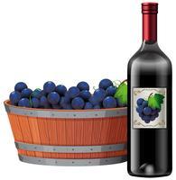 Rode wijn en druivenemmer op witte achtergrond