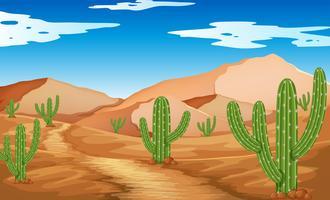 Woestijnscène met bergen en cactus vector