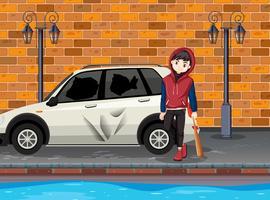 Stedelijke probleem tiener raakte de auto vector