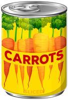 Een blikje gesneden wortelen vector