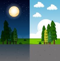 Dag en nacht natuurtafereel vector