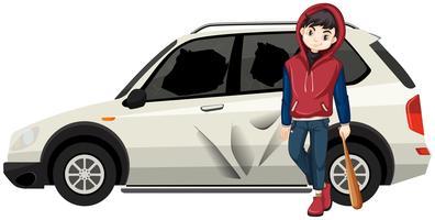 De slechte jonge tiener brak de auto