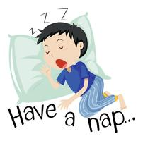 De slaap van de jongen met uitdrukking heeft een dutje