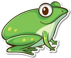 stickerontwerp met schattige groene kikker geïsoleerd vector