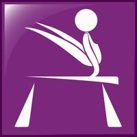 Sport pictogram voor gymnastiek op balans balk vector