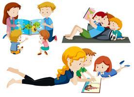 Reeks ouders die aan kinderen lezen vector