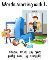 Engels werkblad voor woorden die beginnen met L
