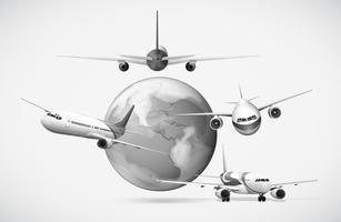Vliegtuigen vliegen rond de aarde in grijstinten vector