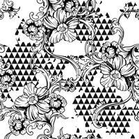 Eclectisch stoffen naadloos patroon. Geometrische achtergrond met barok ornament vector