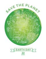 Dag van de Aarde. Conceptueel ontwerp voor het behoud van de natuur. vector