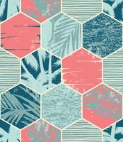 Naadloos exotisch patroon met palmbladen op geometrische achtergrond