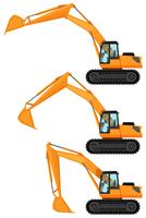 Bulldozers in drie posities