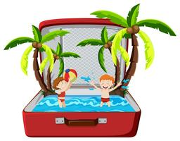 Strand zomervakantie in koffer vector