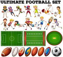 Voetbalthema met spelers en bal