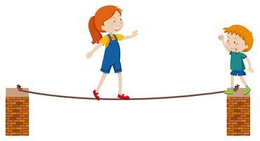 Meisje dat op dun touw loopt vector