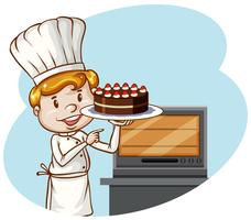 Een chef-kok die cakebakkerij bakt