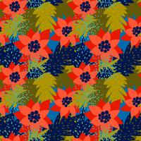 Kerst naadloze patroon met Poinsettia.Trendy vintage stijl.