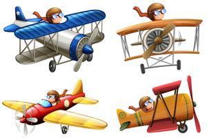 Set van piloot klassiek vliegtuig rijden vector