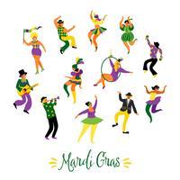Mardi Gras. Vectorillustratie van grappige dansende mannen en vrouwen in heldere kostuums