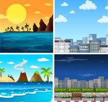 Vier achtergrondscènes van oceaan en stad