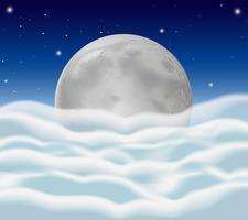 Volle maan en pluizige wolken als achtergrond vector